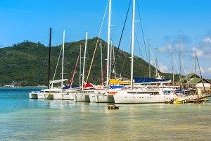 Yachts Marina at Praslin island Seyc