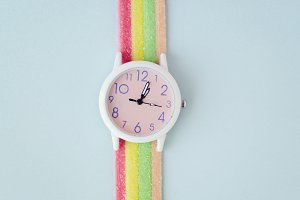 Wristwatch, Rainbow Candy, Colorful