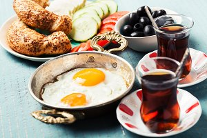 Traditional Turkish breakfast with f