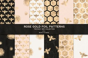 Busy Bee Rose Gold Digital Patterns