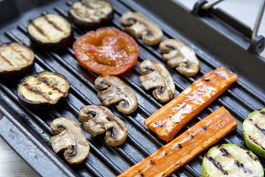 Grilled vegetables in a grilling