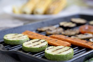 Grilled veggies, side view.