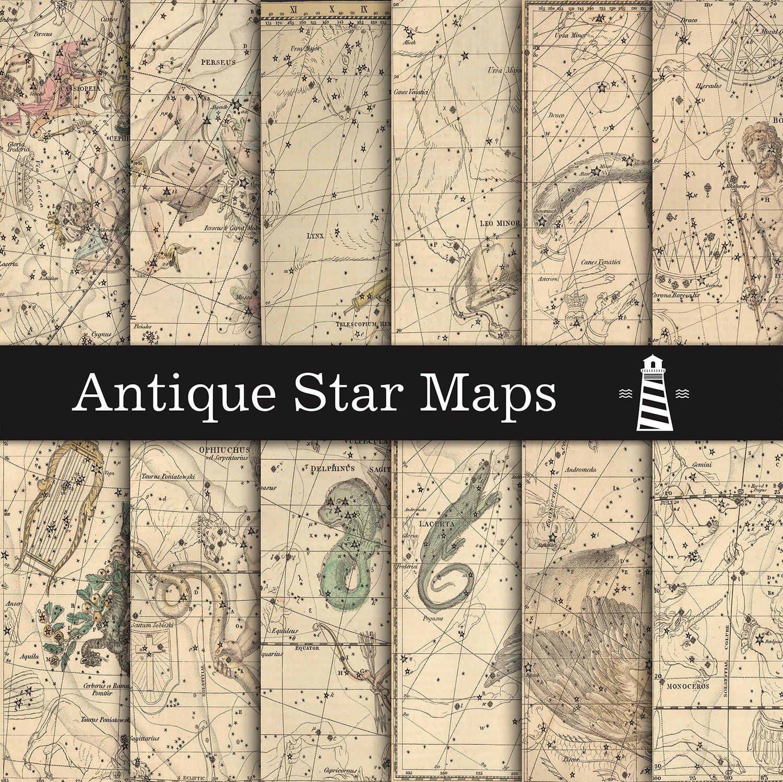 Birthday Star Map.Vintage Star Maps Digital Paper Graphics Creative Market