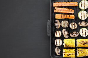 Grilled vegetables in a grilling pan