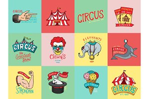 Circus badge. Vintage Carnival logos