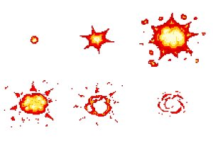 Pixel art explosions. game icons set
