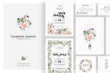 Flamingo Summer Wedding Invitations