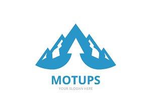 Vector mountain and arrow up logo