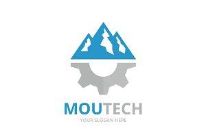 Vector mountain and gear logo