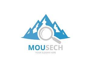Vector mountain and loupe logo