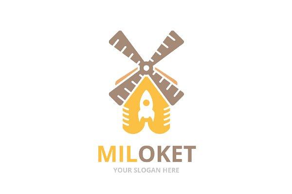 Vector mill and rocket logo