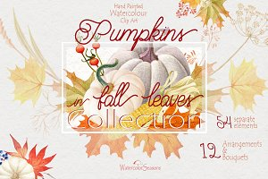 Pumpkins in Fall Leaves Collection