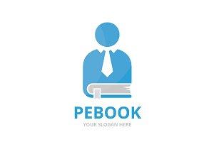 Vector man and book logo combination