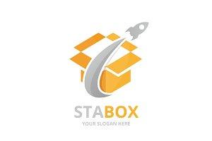 Vector box and rocket logo