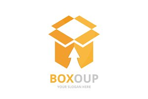 Vector box and arrow up logo