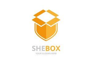 Vector box and shield logo