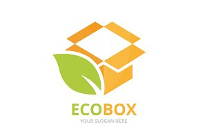 Vector box and leaf logo combination