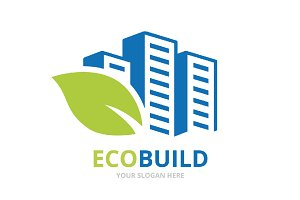 Vector skyscraper and leaf logo