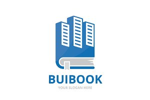 Vector skyscraper and book logo