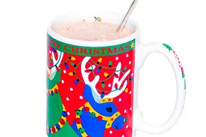 Hot Chocolate in a Mug with a Spoon