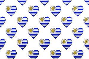 Uruguayan Flag Heart Shape Motif Sea