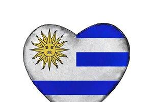 Uruguayan Flag Heart Shape Emblem