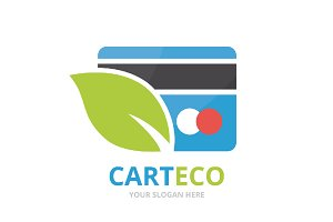 Vector credit card and leaf logo