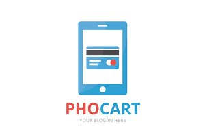 Vector credit card and phone logo