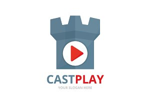 Vector button play and castle logo