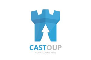 Vector castle and arrow up logo