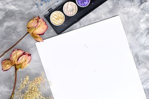 Roses and Paint Flay Lay Photo