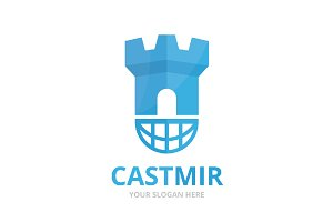 Vector castle and planet logo