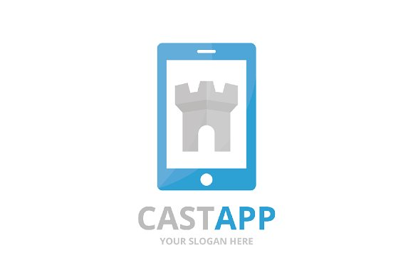 Vector castle and phone logo