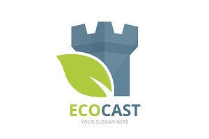 Vector castle and leaf logo