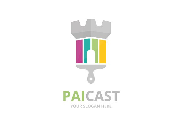 Vector castle and brush logo