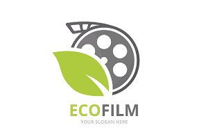 Vector movie and leaf logo