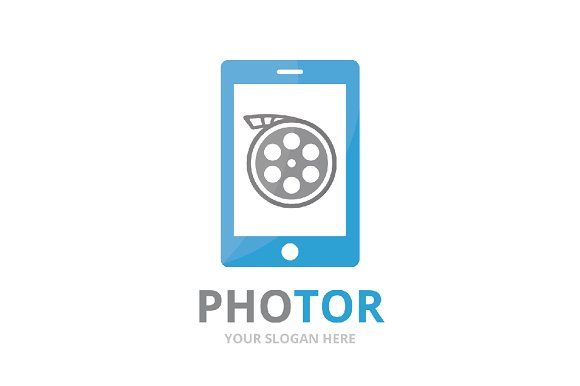 Vector movie and phone logo