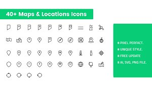 Maps and Locations Icons Set