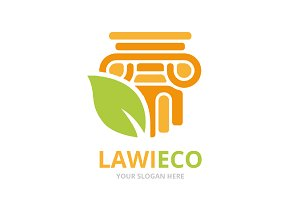 Vector column and leaf logo