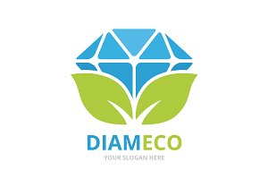 Vector diamond and leaf logo