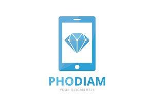 Vector diamond and phone logo