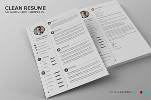 Clean Resume CV Set