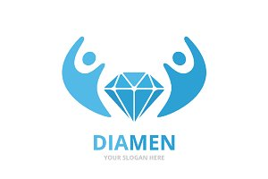 Vector diamond and people logo