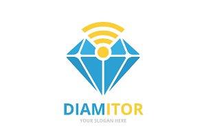 Vector diamond and wifi logo