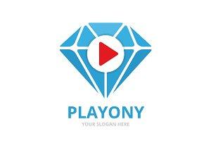 Vector diamond and play button logo