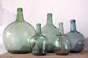 Green glass carafes