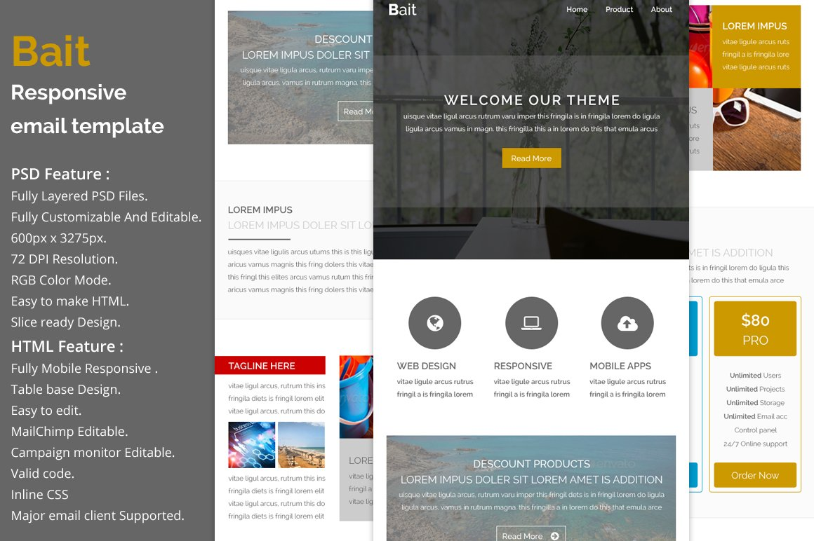 Bait - Responsive email template ~ Email Templates ~ Creative Market