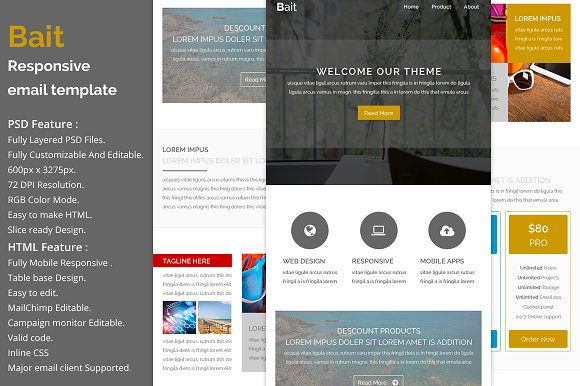 Bait responsive email template email templates on for How to make a responsive email template
