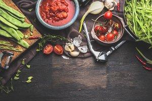 Organic seasonal vegetables cooking
