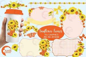 Sunflower Frames Clipart, AMB-1455